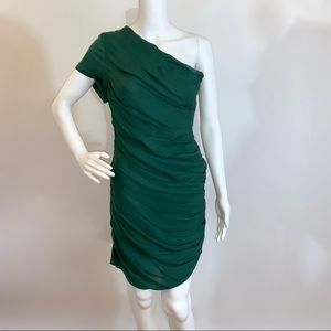 Halston Heritage Green Ruched Evening Dress